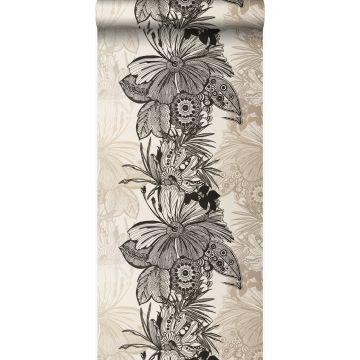 papier peint fleurs noir et beige
