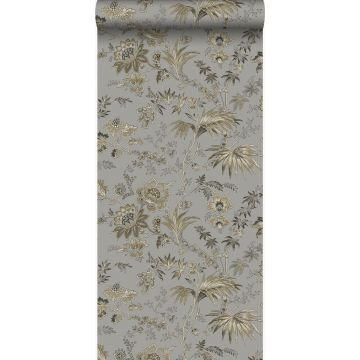 papier peint fleurs taupe et marron