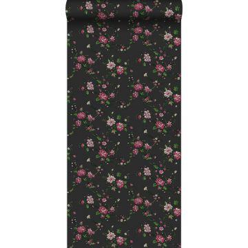 papier peint fleurs noir et rose