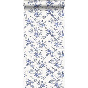 papier peint fleurs bleu indigo