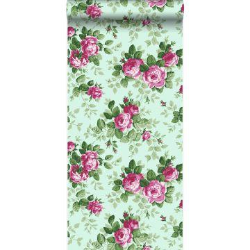 papier peint roses vert céladon et rose