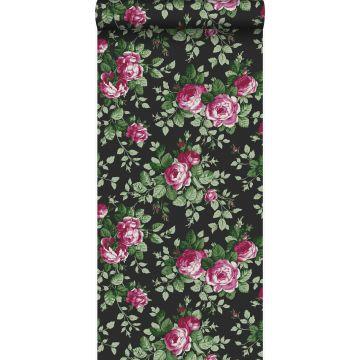 papier peint roses noir et rose