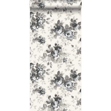 papier peint roses noir et blanc