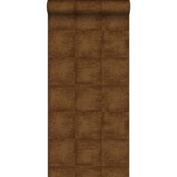 papier peint uni brun cuivré brillant