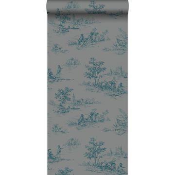 papier peint toile de jouy gris et turquoise