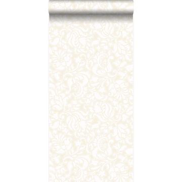 papier peint motif dentelle blanc