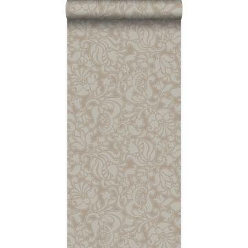 papier peint motif dentelle bronze brillant