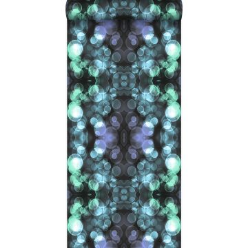 papier peint kaléidoscope bleu azur lumière et violet