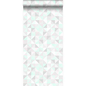 papier peint triangles vert menthe pastel, gris chaud clair, blanc mat et vert émeraude brillant
