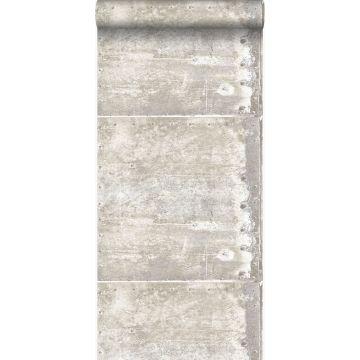 papier peint grandes plaques métalliques rouillées, vieillies, altérées et touchées par les intempéries avec des rivets blanc cassé