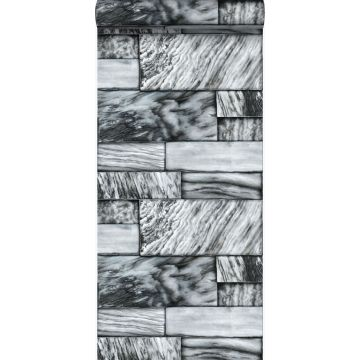 papier peint pierres de marbre noir et blanc