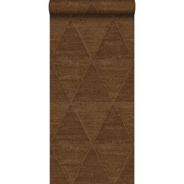 papier peint triangles métalliques vieillis, altérés et touchés brun rouille