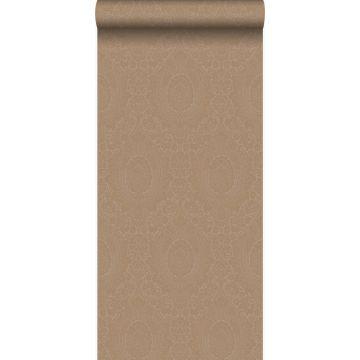 papier peint ornement taupe et bronze brillant