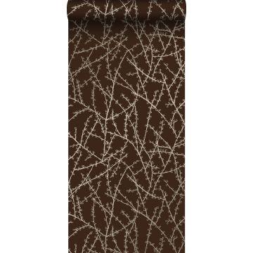 papier peint branches de fleurs brun mat et bronze brillant