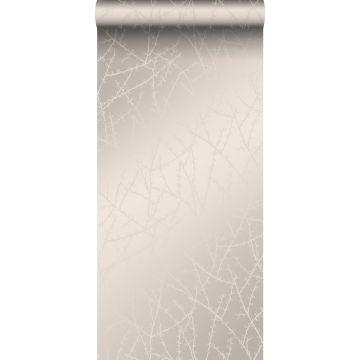 papier peint fleurs argent chaud