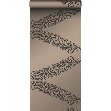 papier peint ornement bronze brillant et marron