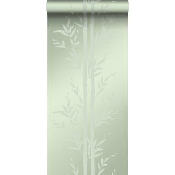 papier peint bambou vert olive grisé
