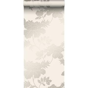 papier peint fleurs beige