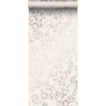 papier peint feuilles beige