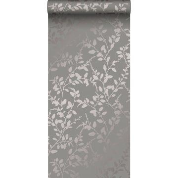 papier peint feuilles taupe
