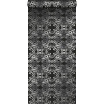 papier peint forme graphique noir et argent