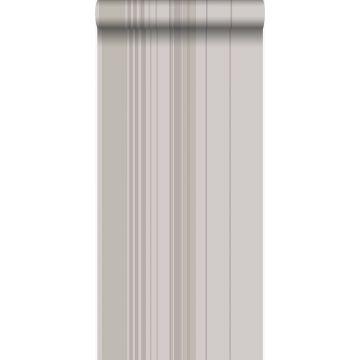 papier peint à rayures taupe et gris