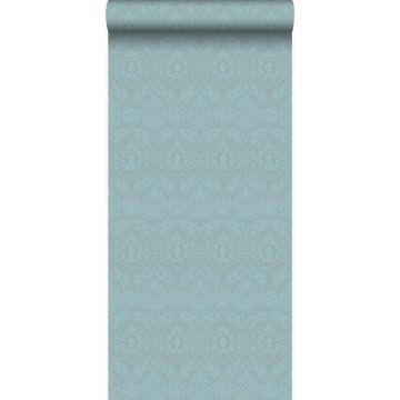 papier peint ornement bleu glace