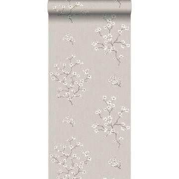 papier peint fleurs taupe