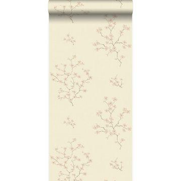 papier peint fleurs beige et rose