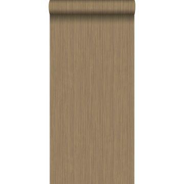 papier peint rayures fines brun cuivré brillant