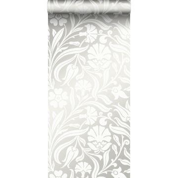 papier peint fleurs blanc cassé