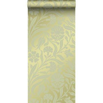 papier peint fleurs vert