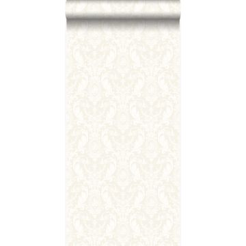 papier peint ornement argent et blanc