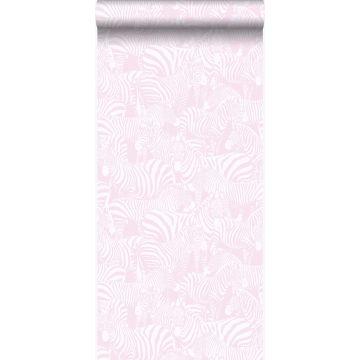 papier peint zèbres rose clair
