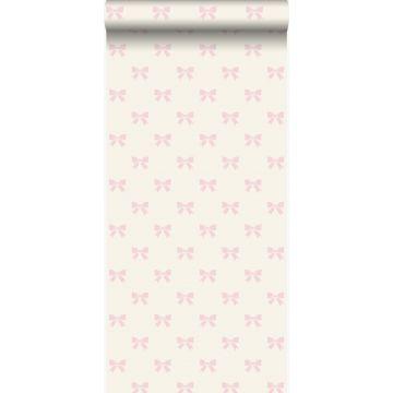 papier peint petits noeuds ruban blanc et rose clair