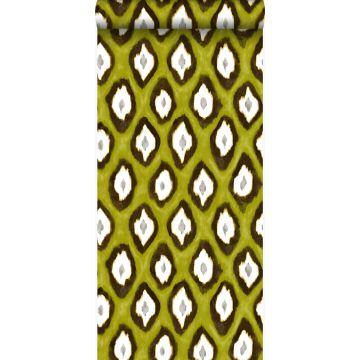 papier peint imitation d'ikat jaune ocre