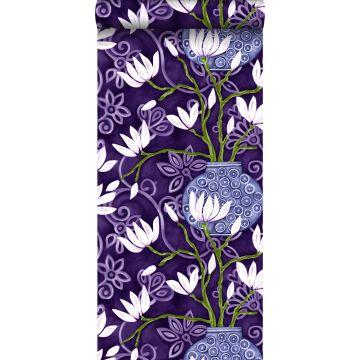 papier peint magnolia violet