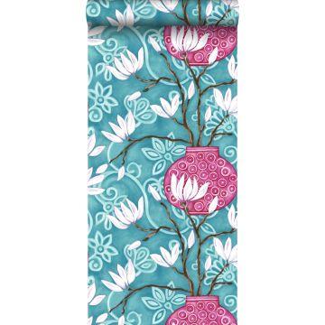 papier peint magnolia turquoise et rose
