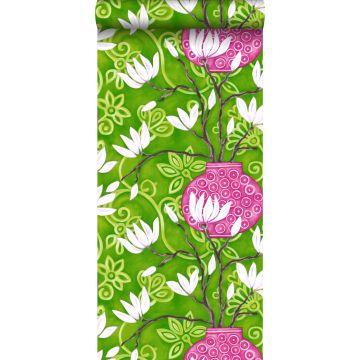 papier peint magnolia vert et rose