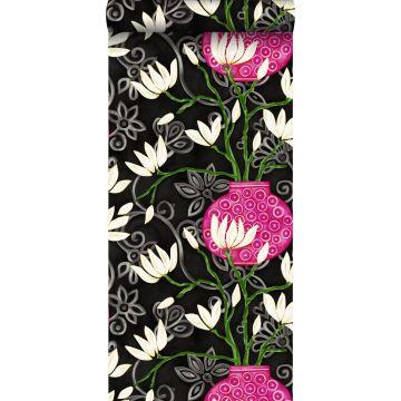 papier peint magnolia noir et rose