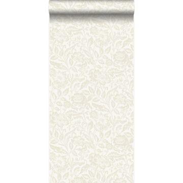 papier peint fleurs blanc antique