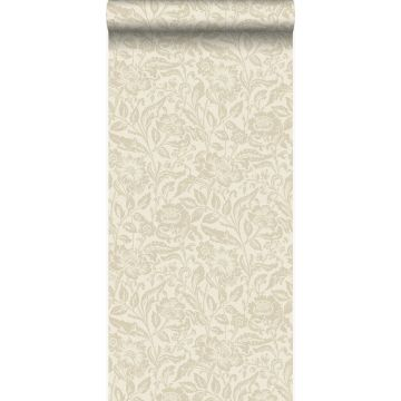 papier peint fleurs beige crème