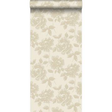 papier peint roses beige crème