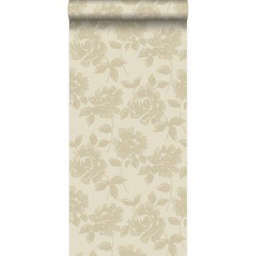 papier peint roses beige chaud