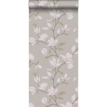 papier peint magnolia taupe clair