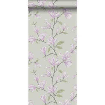 papier peint magnolia bleu canard et violet