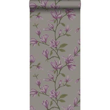 papier peint magnolia taupe et violet aubergine