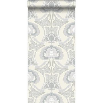 papier peint motif floral Art Nouveau beige