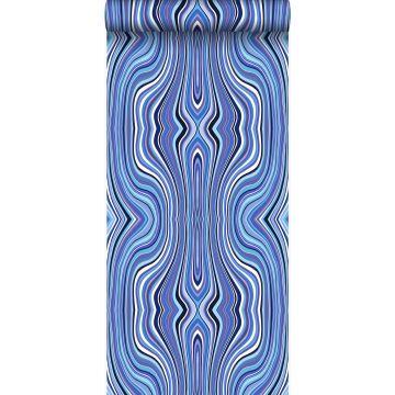papier peint lignes graphiques bleu et turquoise