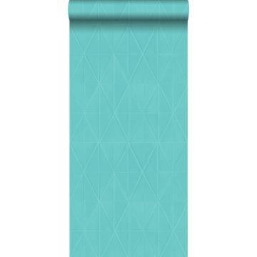 papier peint forme graphique turquoise